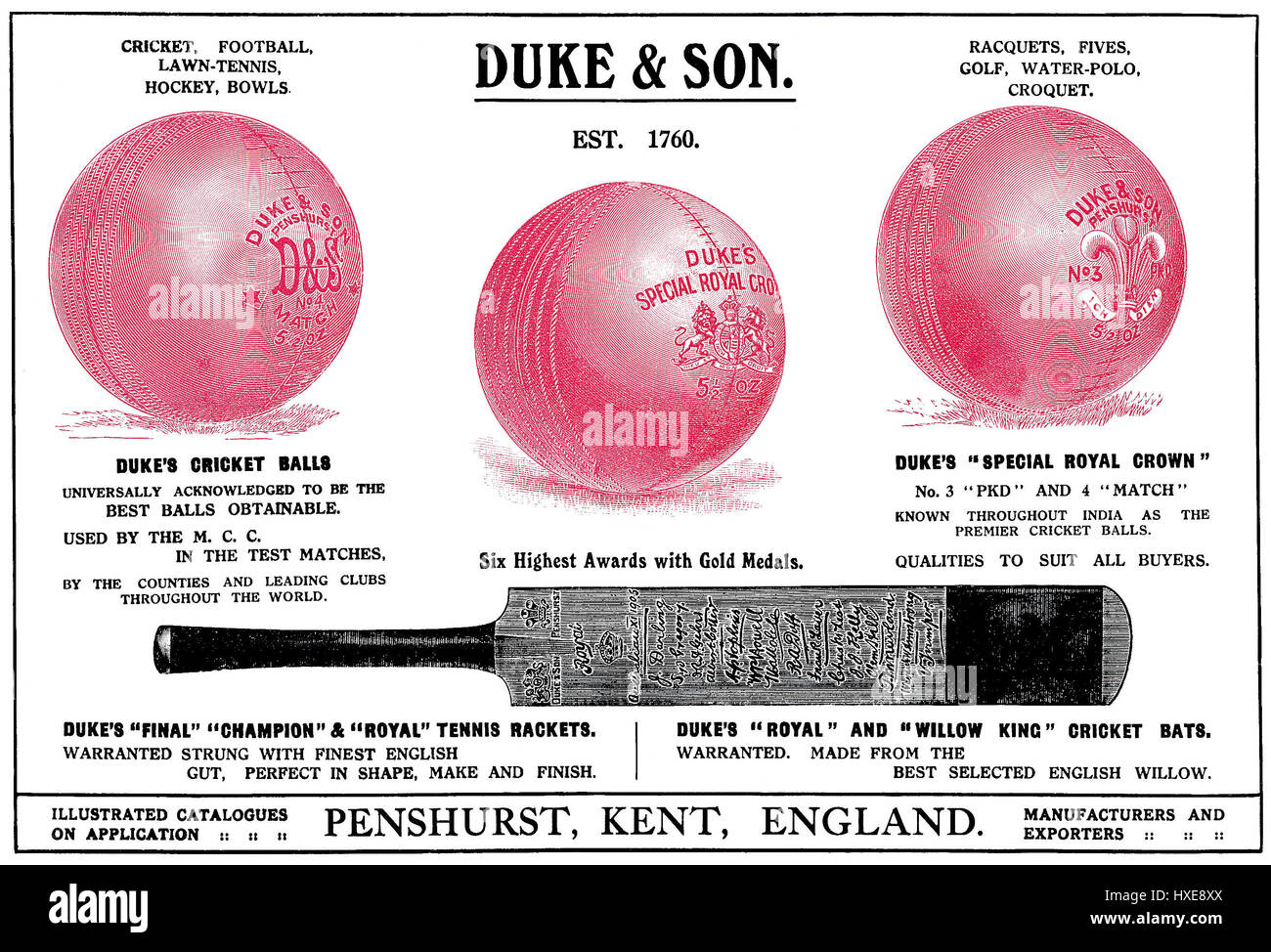 1922 Anuncio indio de Duke & Son deportes de equipo. Publicado en The Times of India, Anual de 1922. Imagen De Stock