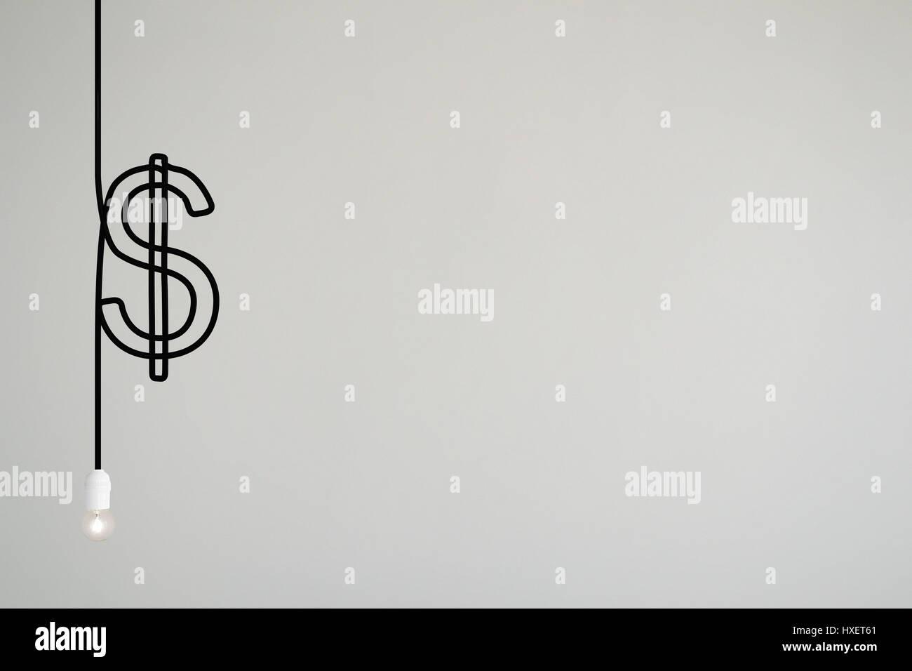 Un cable eléctrico de luces dibuja un símbolo de dólar Imagen De Stock