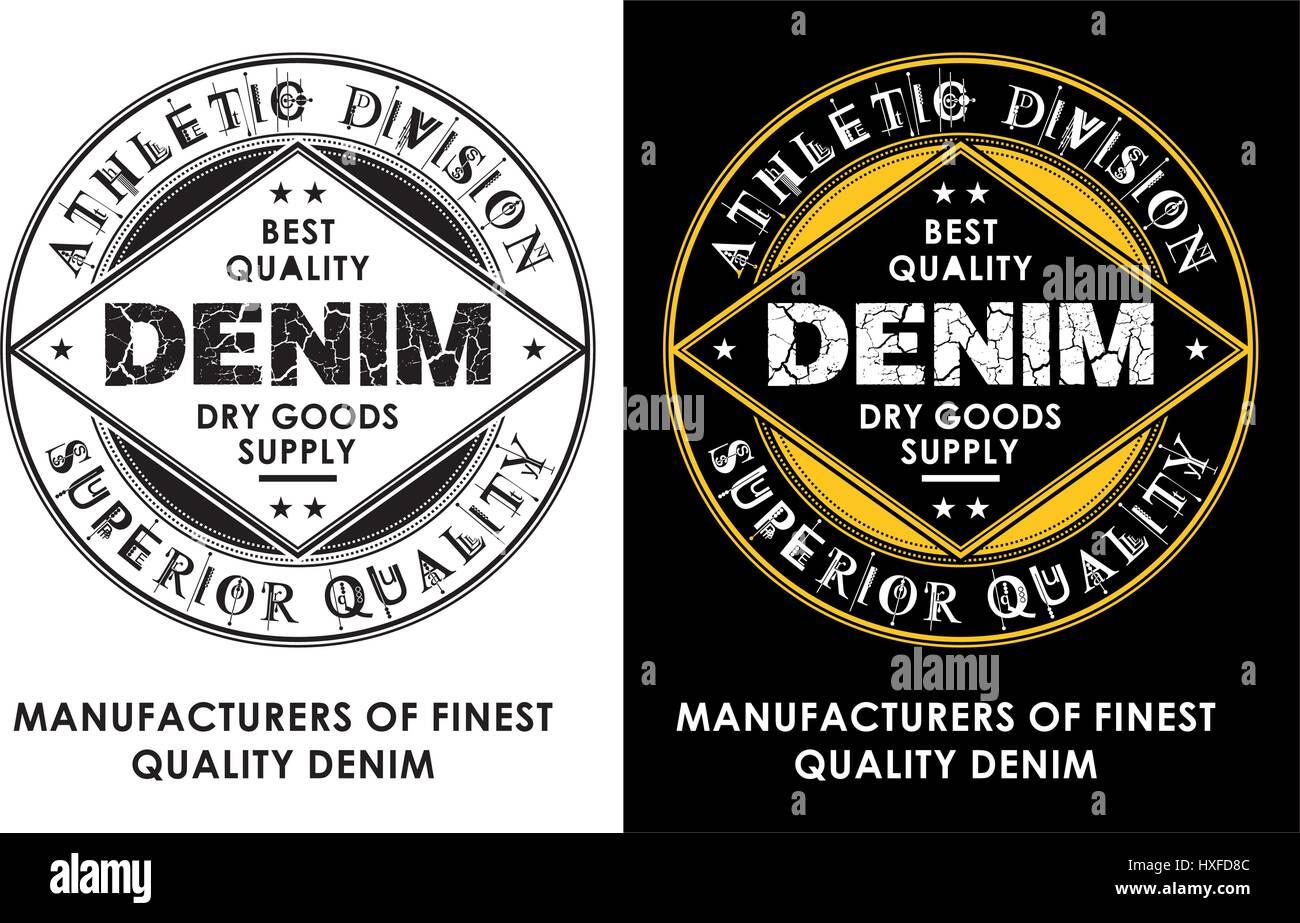 Diseño de tipografía estilo Denim, Vector. Imagen De Stock