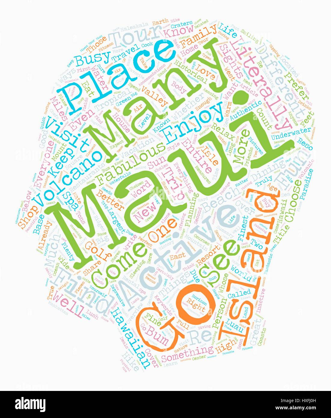 Maui diversión para todos fondo de texto wordcloud concepto Ilustración del Vector