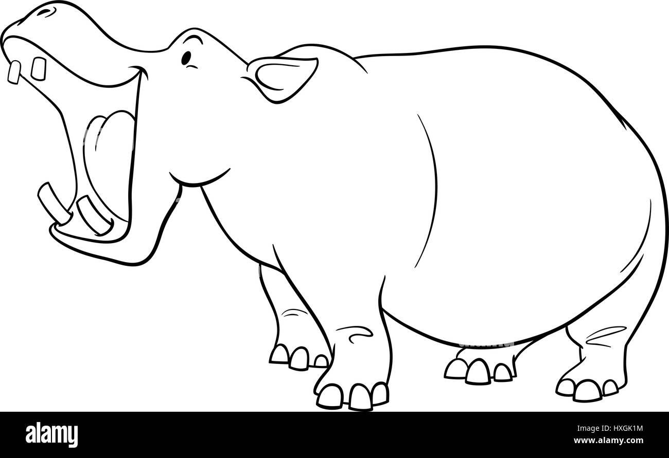 Ilustración caricatura en blanco y negro de hipopótamo animal ...