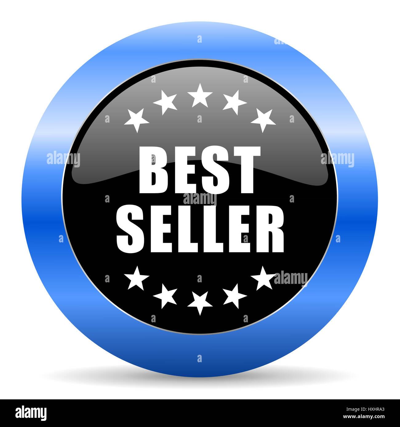 Best Seller negro y azul diseño web ronda icono internet con sombra sobre fondo blanco. Foto de stock