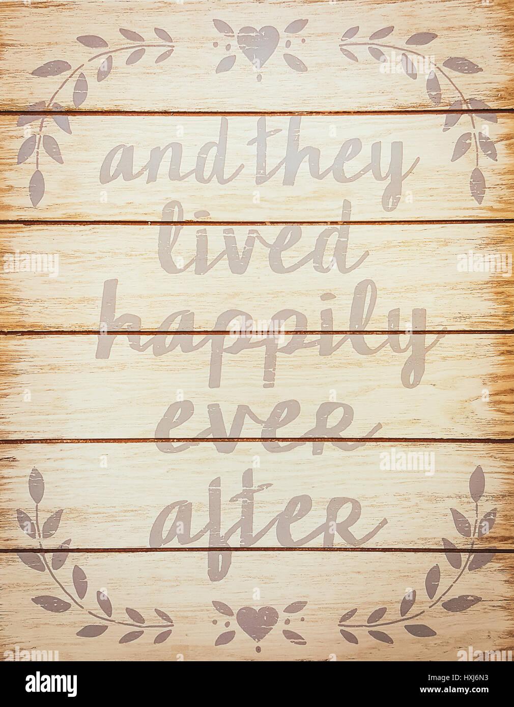Y Vivieron Felices Para Siempre Stock Frase Para Terminar
