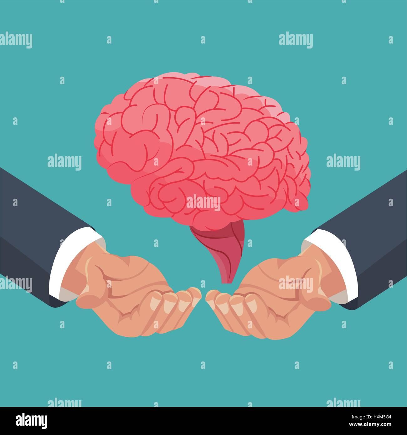 Mano sujetando el cerebro humano organ Ilustración del Vector