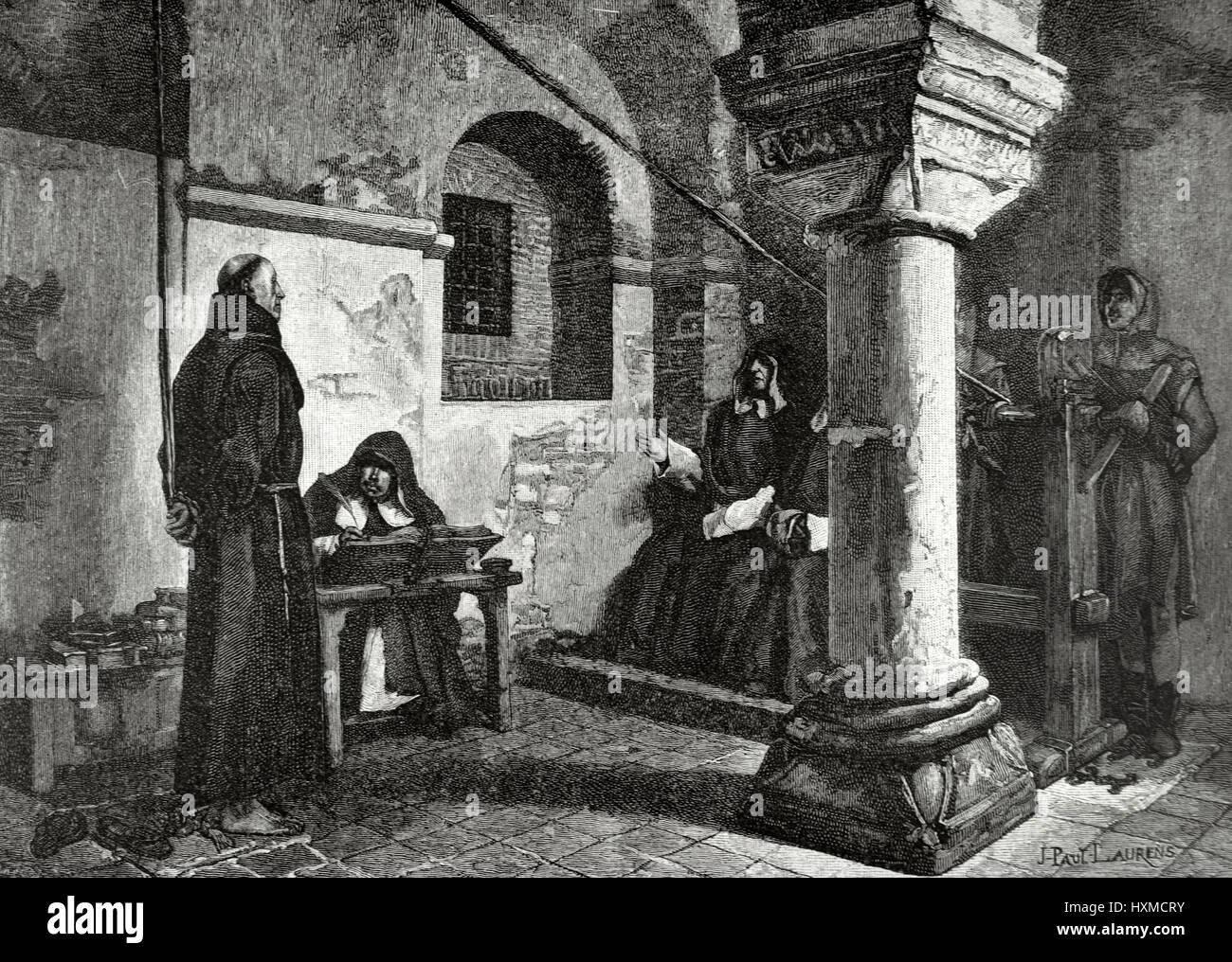 El franciscano fray Bernardo delicioso en la inquisición de Albi (Francia). Grabado por el pintor y escultor Imagen De Stock