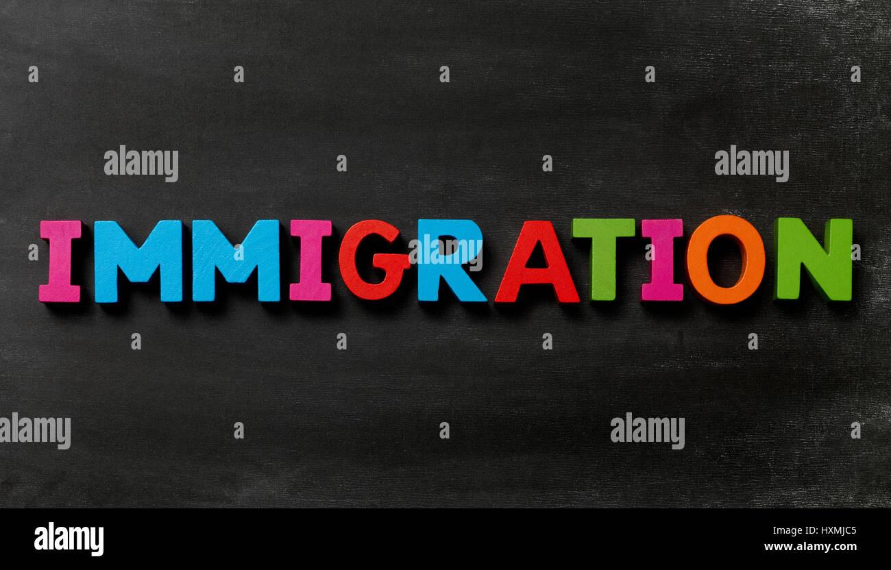 Pizarra con Immiggration Foto de stock