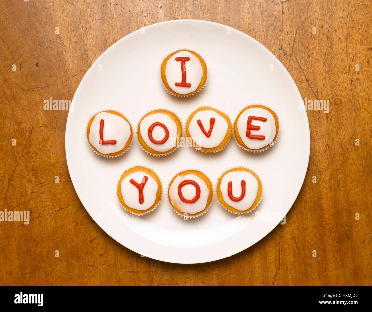 I love you en cupcakes Foto de stock
