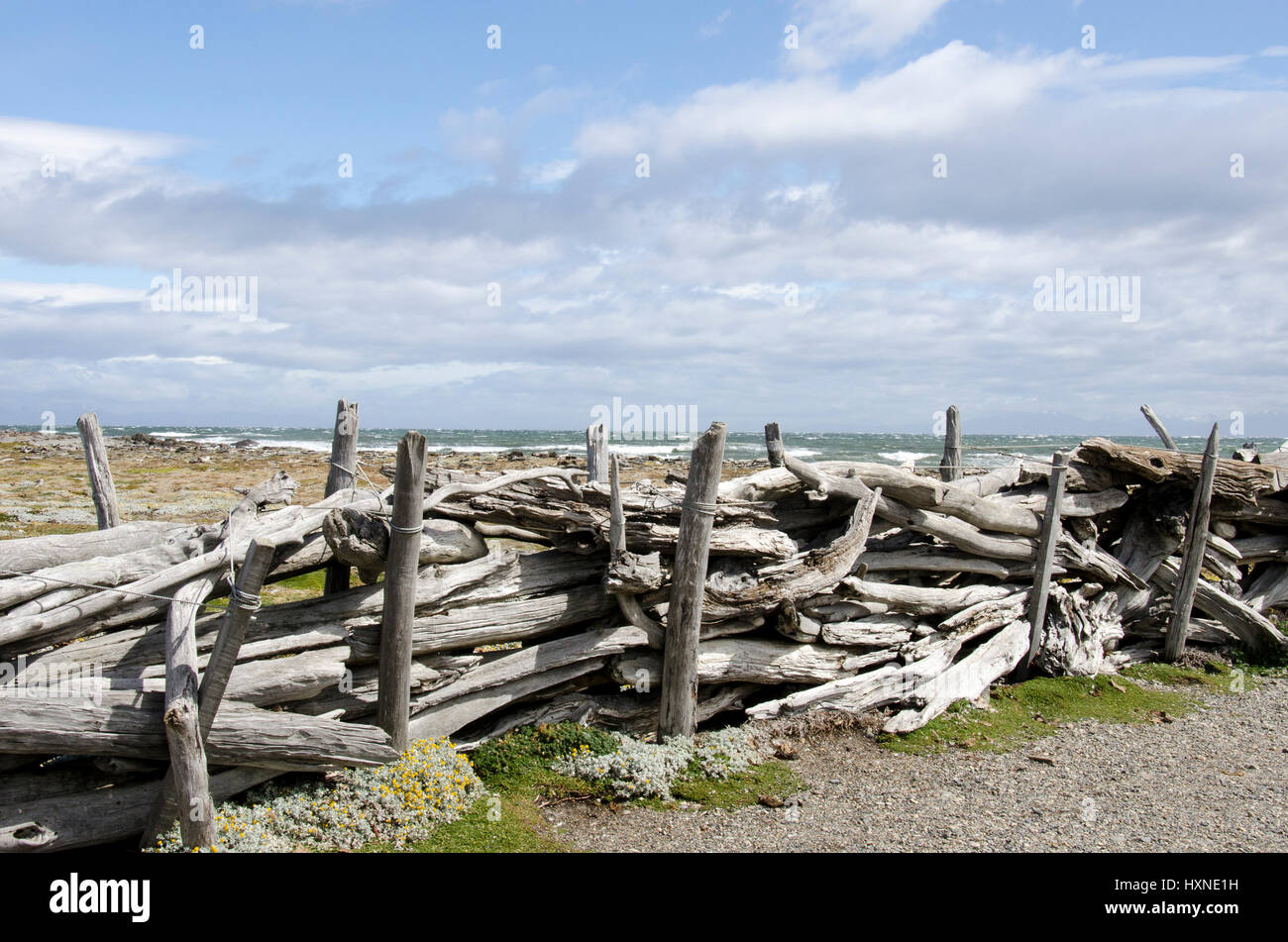 Seno Otway es un gran sonido continentales situadas entre la Península de Brunswick y la Isla Riesco, en el Imagen De Stock