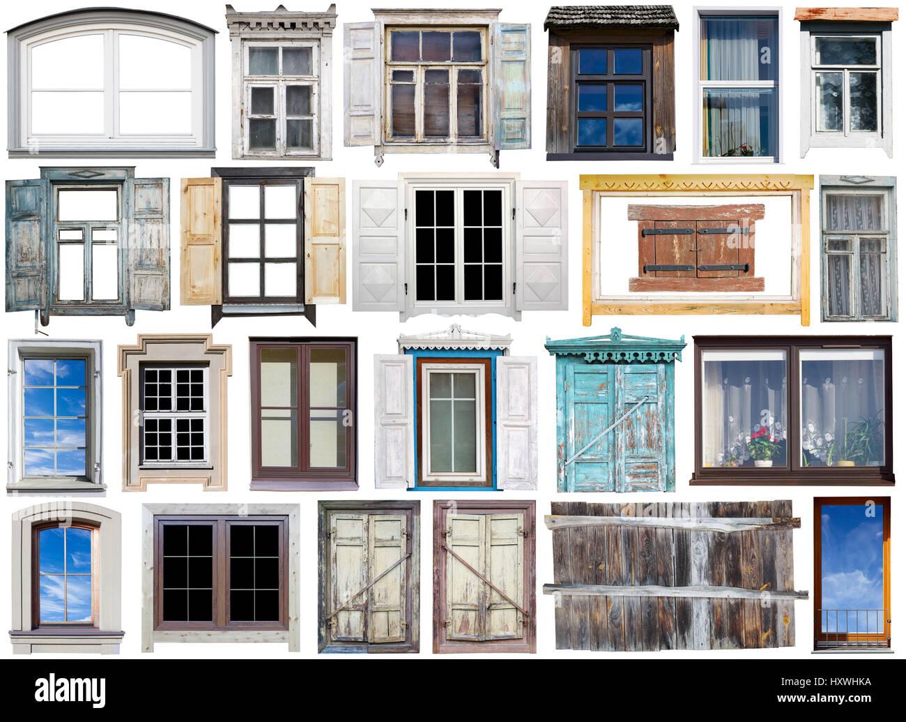 Antiguos y modernos de windows iwith marcos de madera y plástico y ...