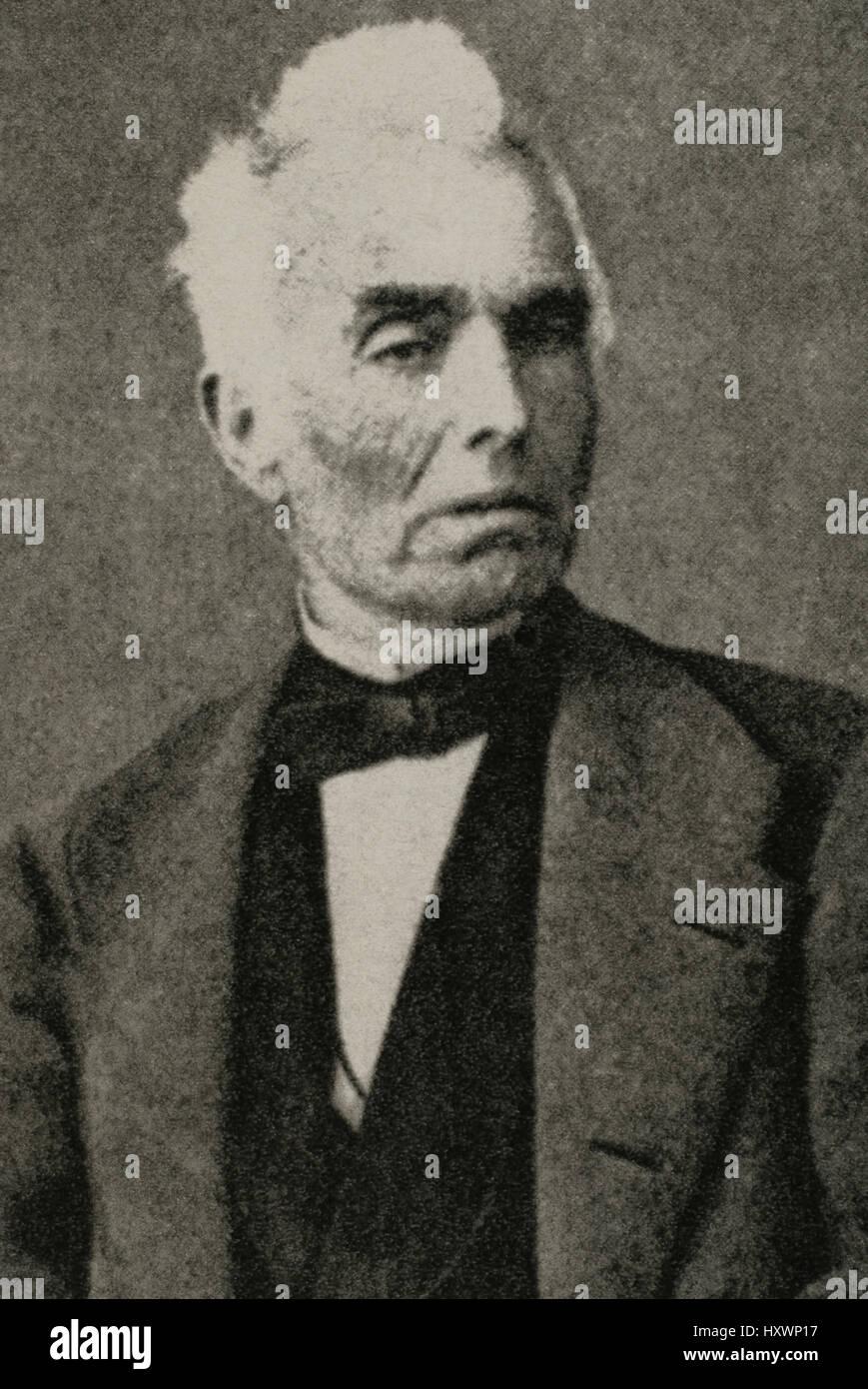 Manuel Gibert Sans (1795-1873). Catalán y abogado militar. Retrato. Grabado. Foto de stock