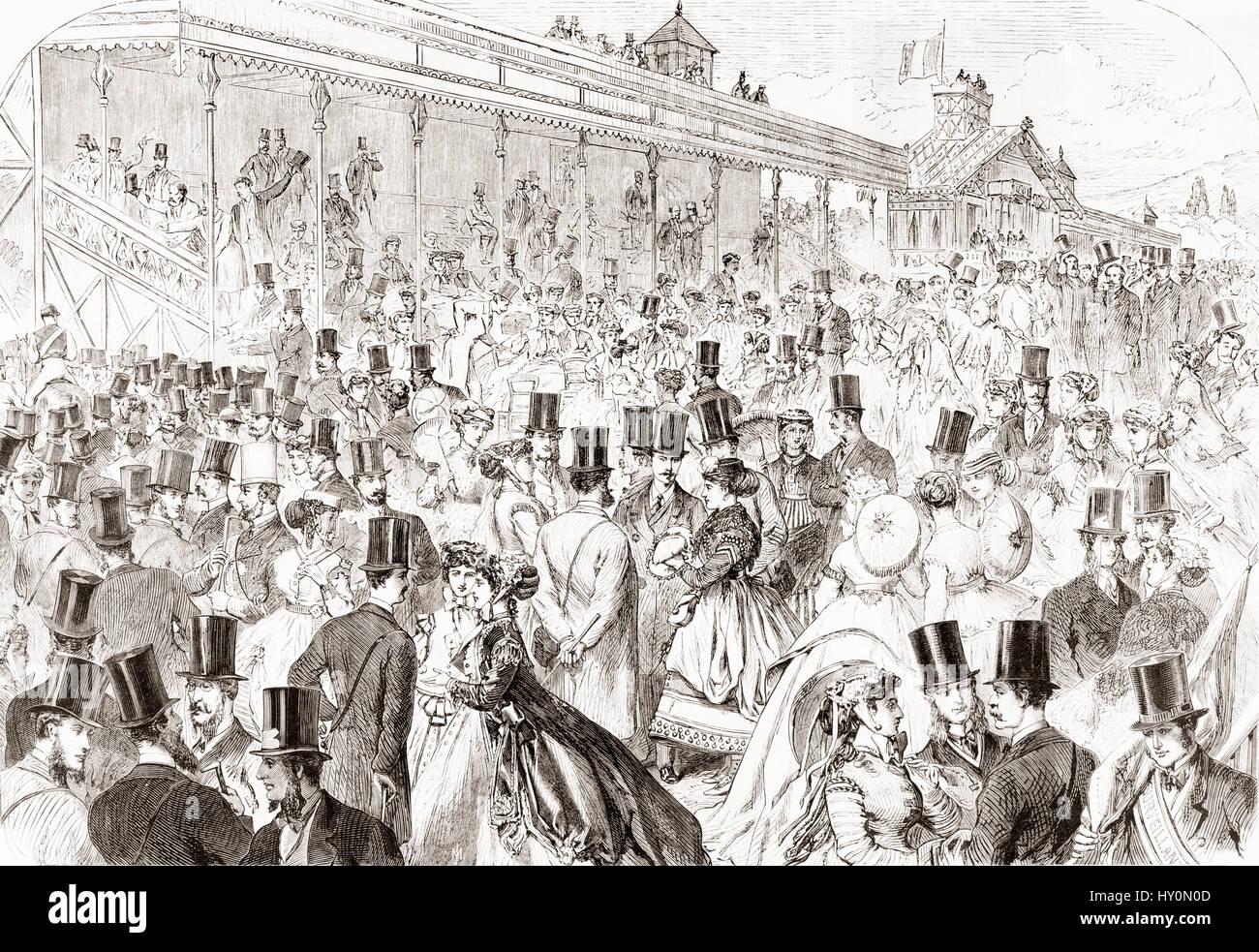 El hipódromo de Longchamp ( hipódromo de Longchamp), Route des tribunos, Bois de Boulogne, en París, Imagen De Stock