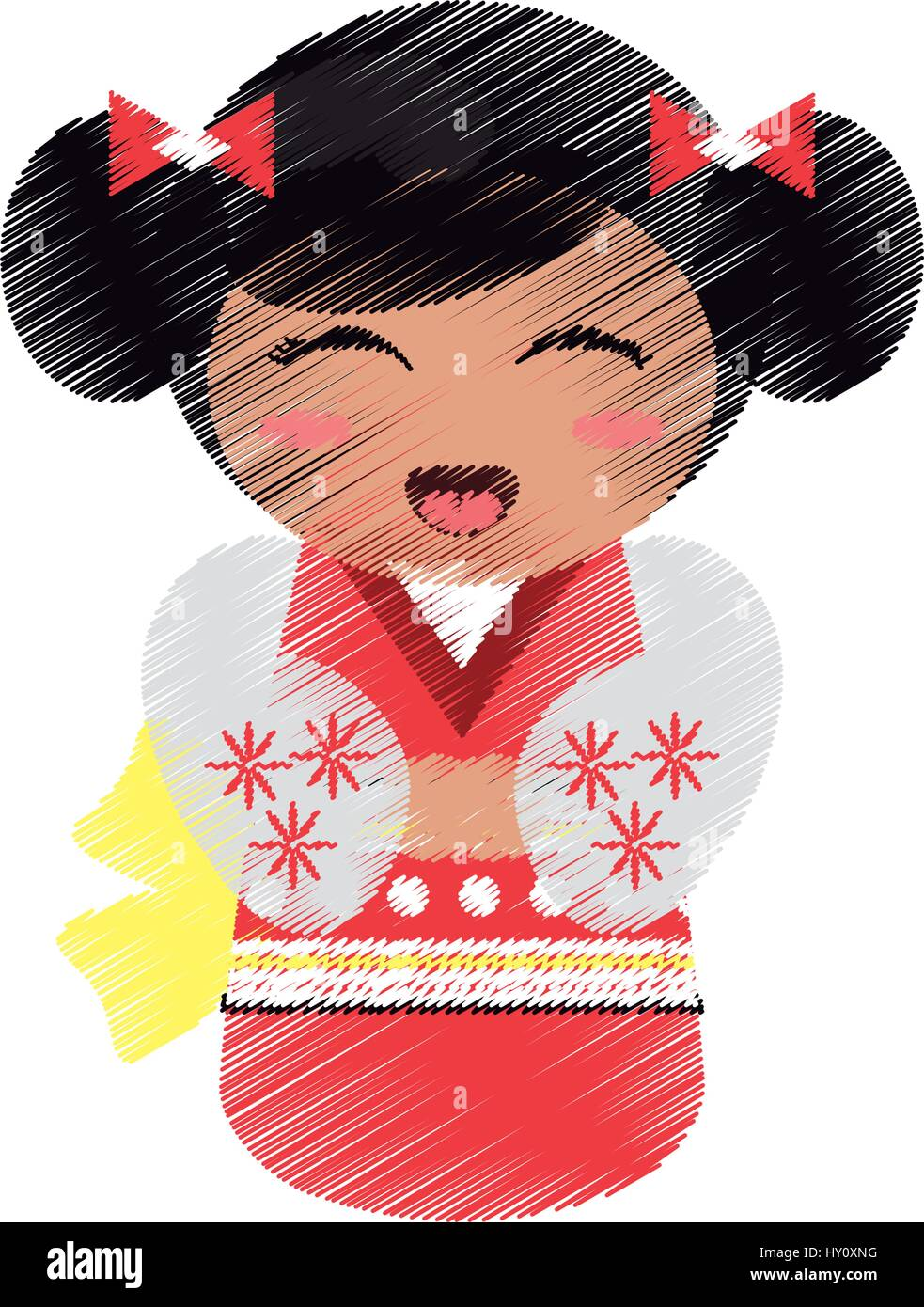 Dibujo Muñeca Geisha Imagen Folclórica Japonesa Ilustración Del