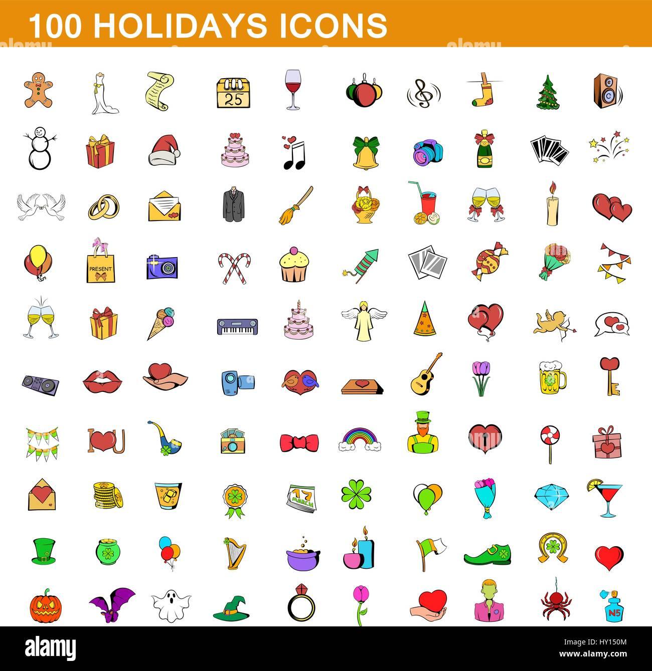 100 iconos de vacaciones, estilo de dibujos animados Imagen De Stock