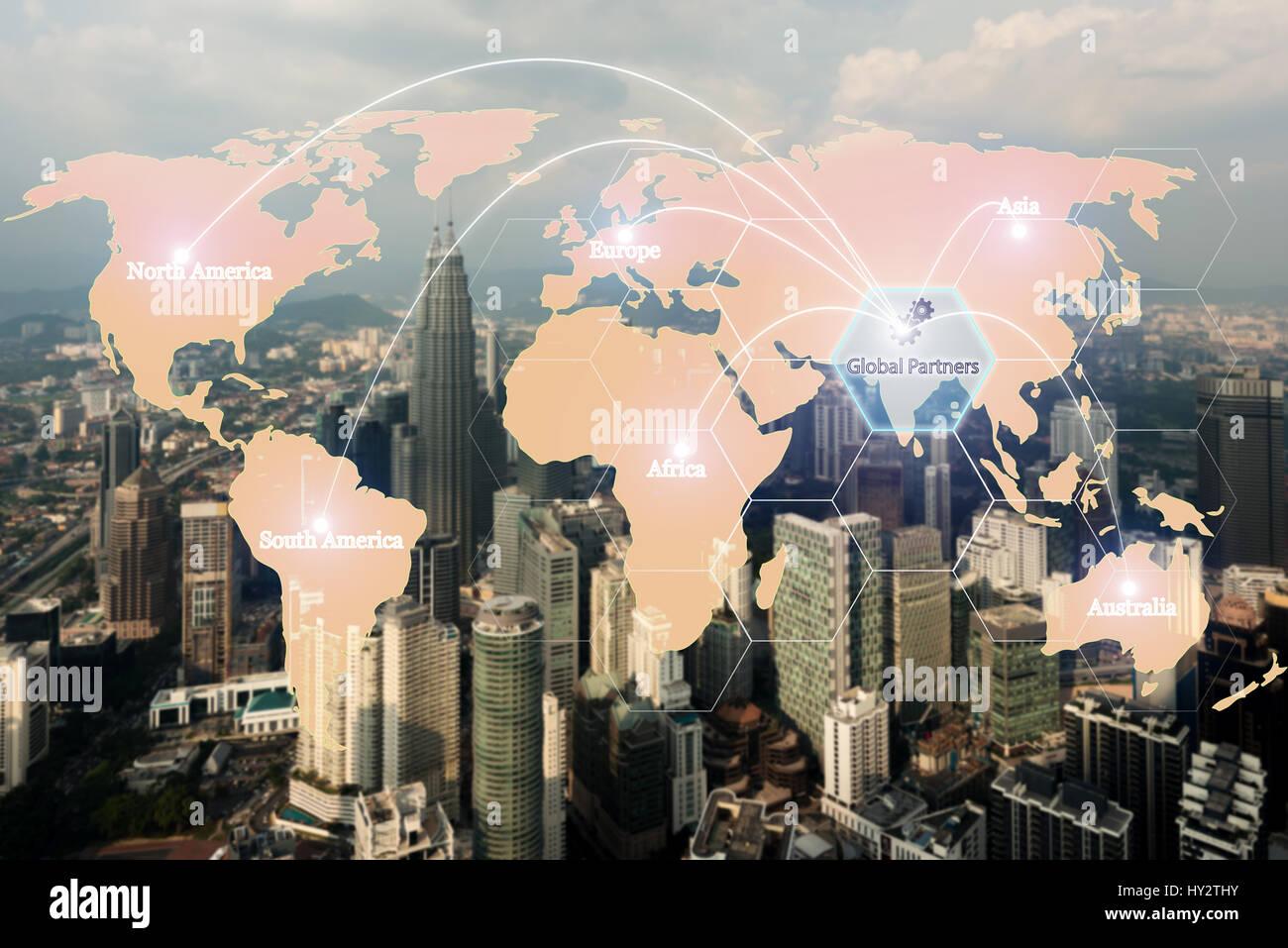 Mapa de asociación mundial de logística para la logística de importación y exportación Imagen De Stock