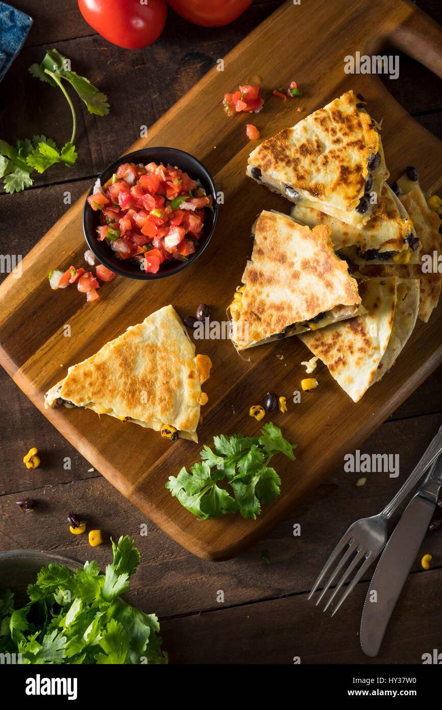 Quesadilla de queso y pollo casero con Salsa y cilantro. Imagen De Stock