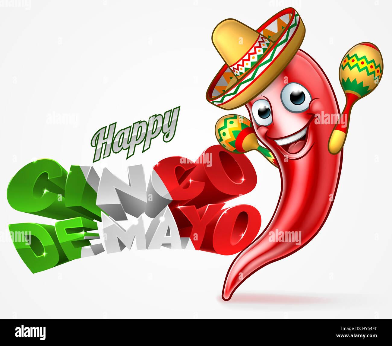 Un Feliz Cinco de Mayo diseño mexicano con pimiento rojo personaje de  caricatura en sombrero sombrero de paja sosteniendo las maracas shakers 0d22ca42369