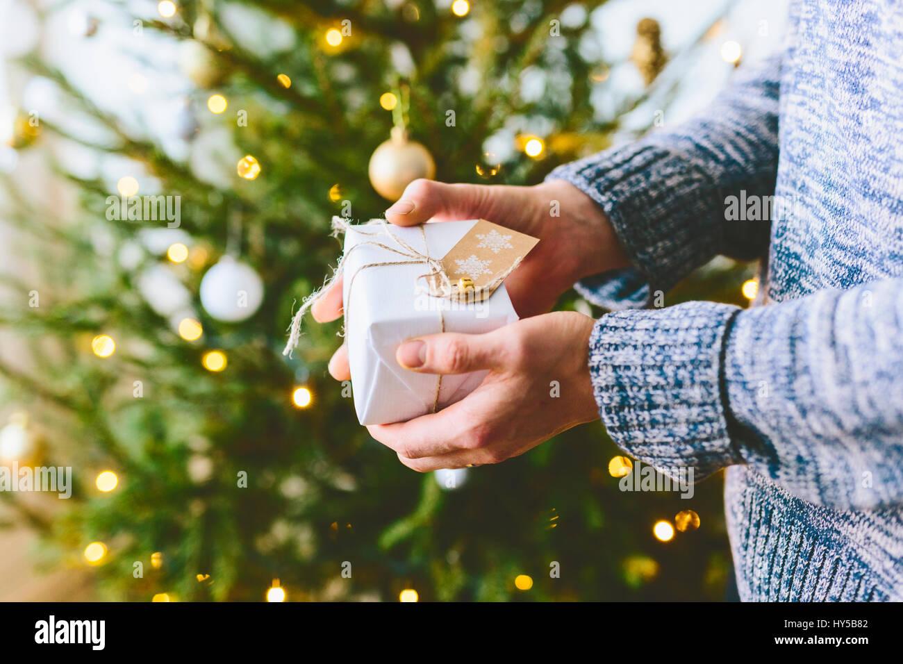 Finlandia, hombre sujetando el regalo de navidad contra el árbol de navidad Imagen De Stock
