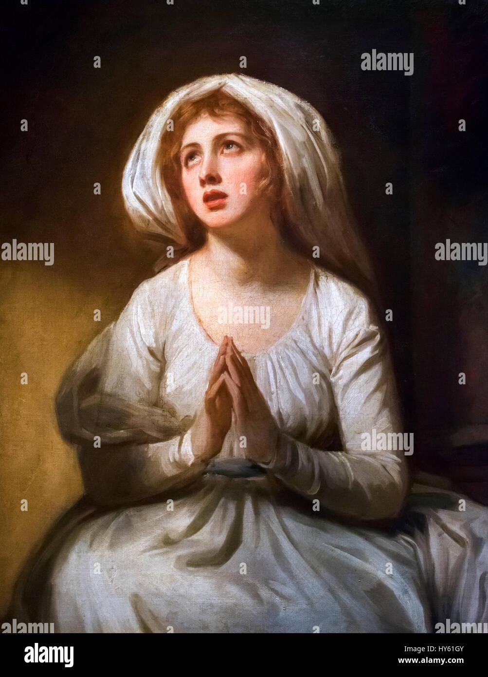 Lady Hamilton en oración por George Romney, óleo sobre lienzo, c.1782-86. Retrato de Emma Hamilton (1765 Imagen De Stock