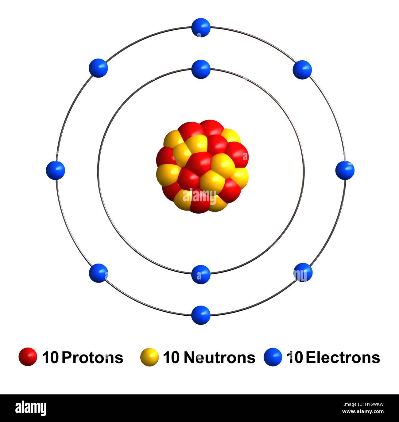 3d Render De La Estructura Del átomo Aislado De Neón Sobre