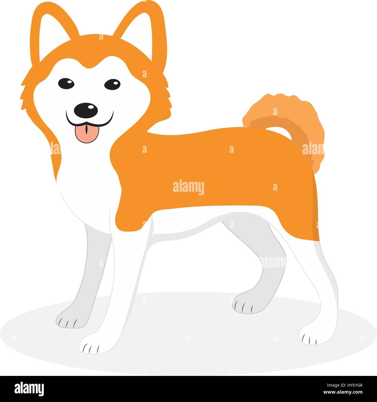 Akita Inu Raza De Perro Planas Icono De Estilo De Dibujos Animados