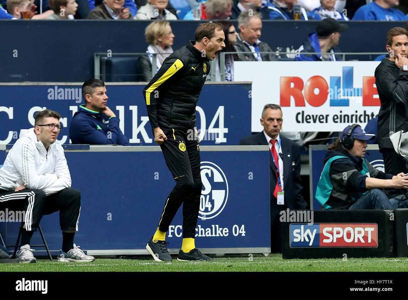 Gelsenkirchen. 1 abr, 2017. Entrenador Thomas Tuchel (C) del Borussia Dortmund reacciona durante el partido de fútbol de la Bundesliga alemana entre el FC Schalke 04 y el Borussia Dortmund en el Veltins Arena en Gelsenkirchen, Alemania, el 1 de abril de 2017. Crédito: Joachim Bywaletz/Xinhua/Alamy Live News Foto de stock