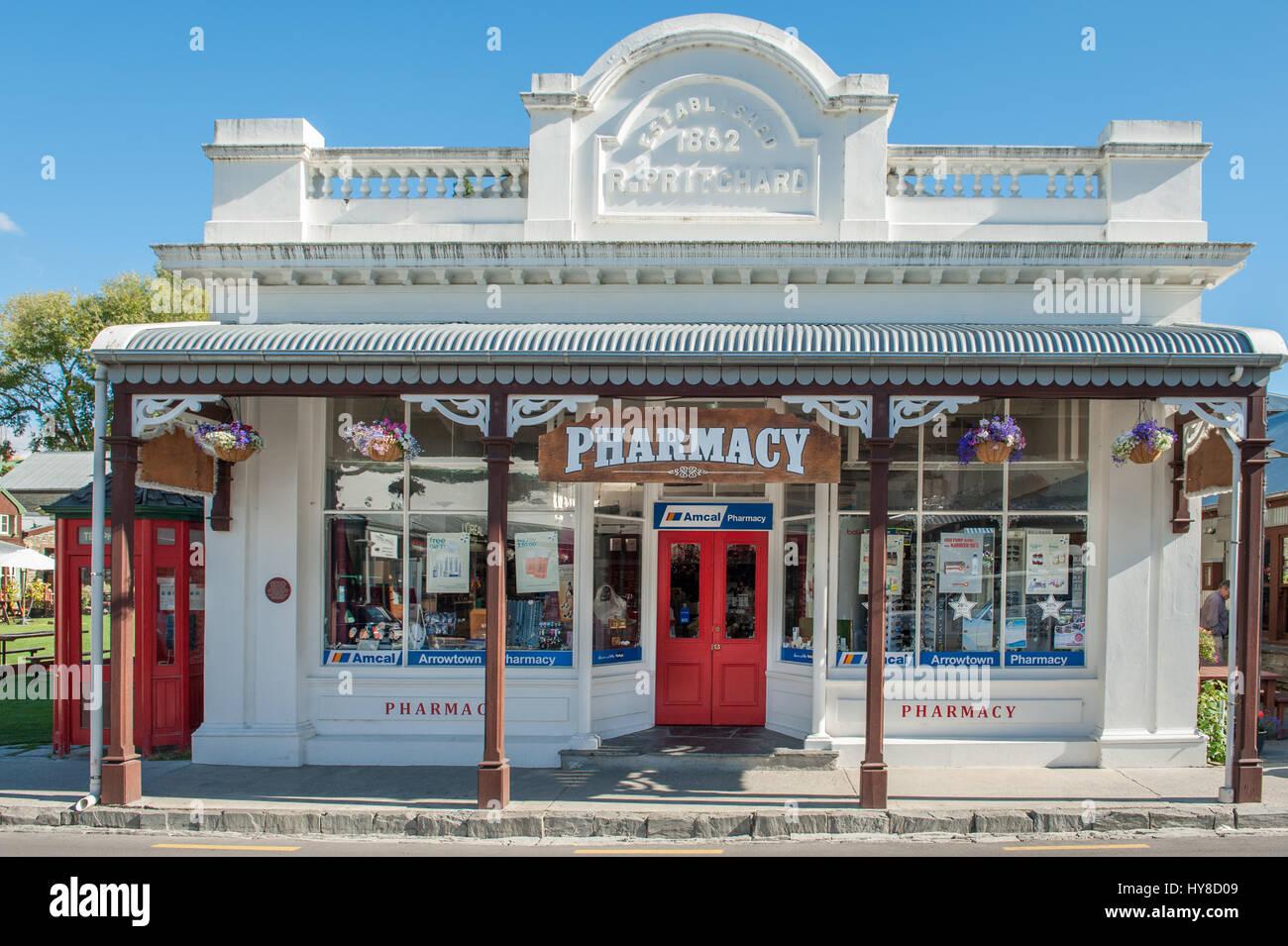 Arrowtown es una histórica ciudad minera de oro cerca de Queenstown en Central Otago, Nueva Zelanda. Foto de stock