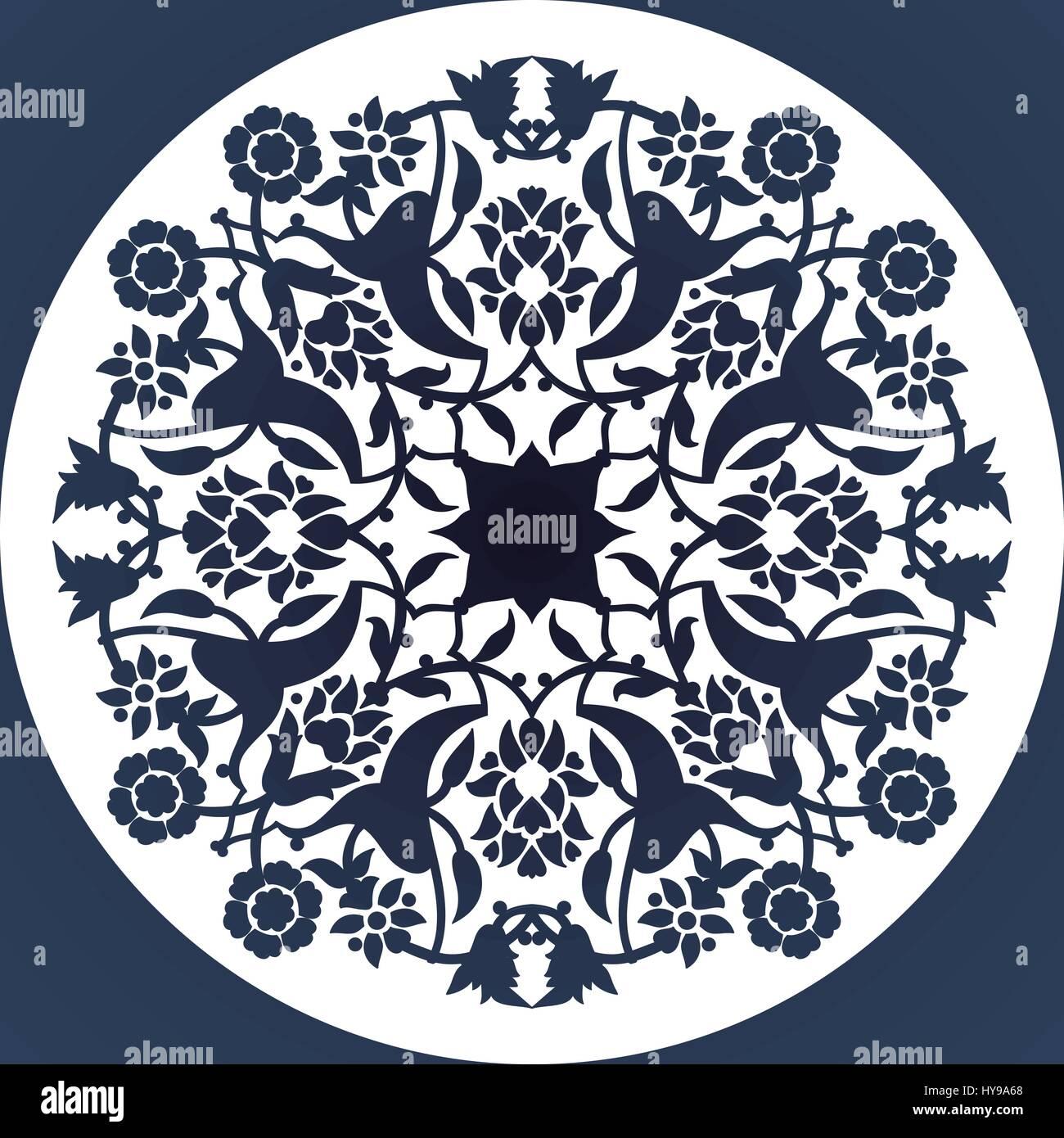 Corte láser ronda arabescos florales ornamento vector patrón ...