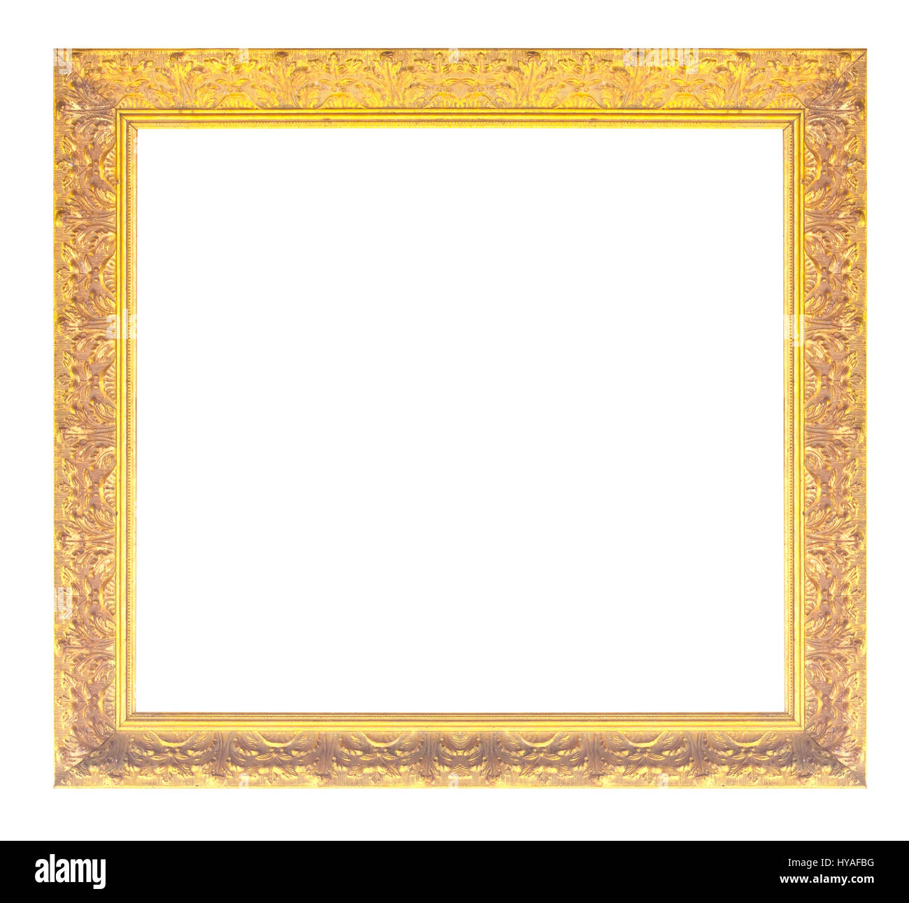 Antiguo marco dorado aislado sobre fondo negro/oro marco de fotos ...