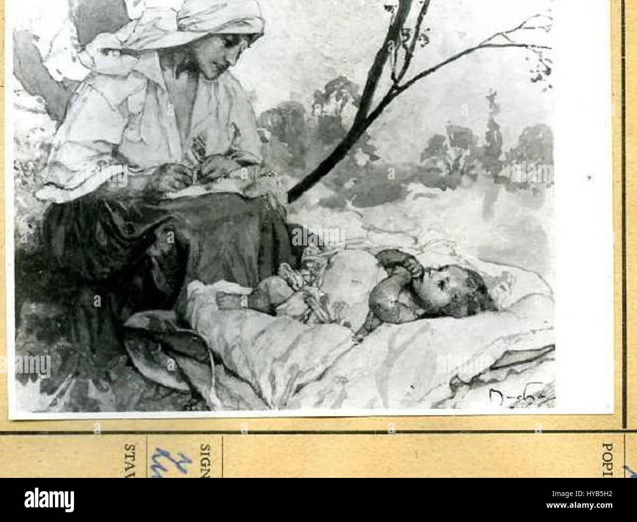 Autor Alfons Mucha 24.7.1860 14.7.1939 Matka sedici nad ditetem ilustrace ke knize Slavia starostlivym matkam Foto de stock