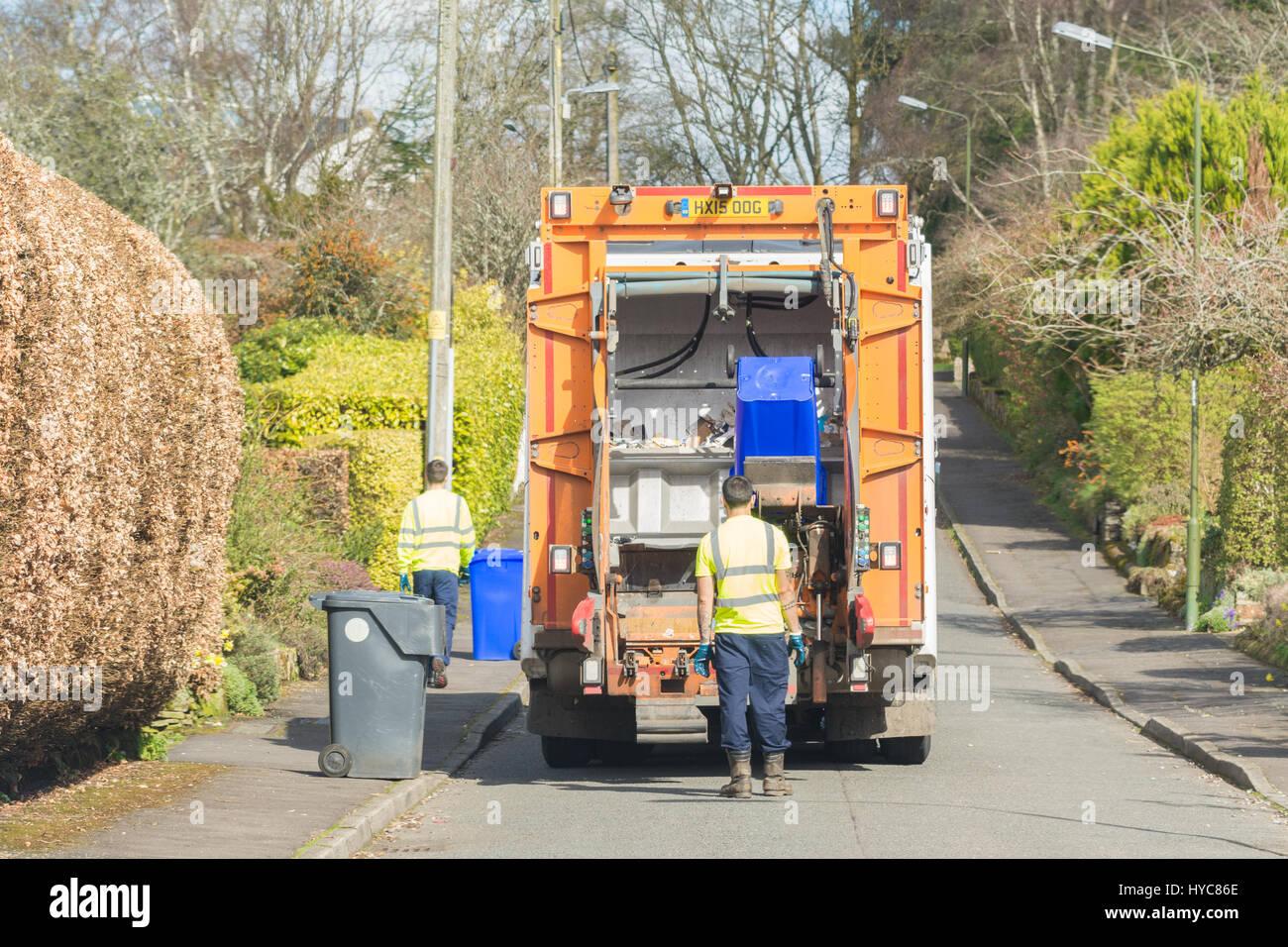 Camión de reciclaje Stirlingshire, Escocia Imagen De Stock