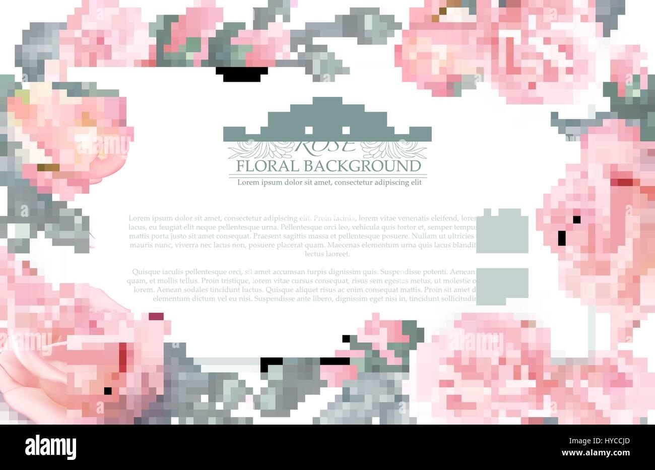 Banner Horizontal Botánico Con Rosas Concepto De Vector