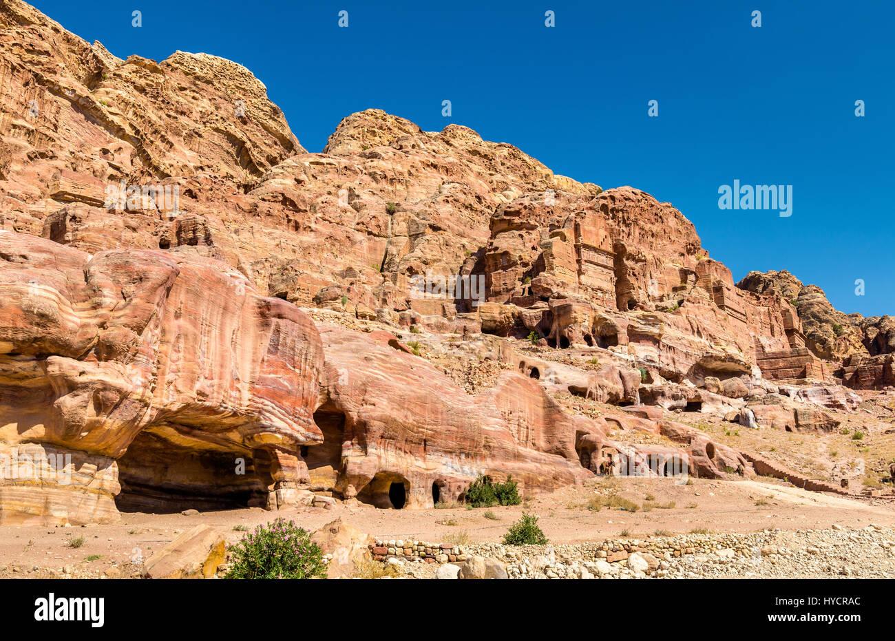 Las Tumbas Reales de Petra, sitio del patrimonio mundial de la UNESCO Foto de stock