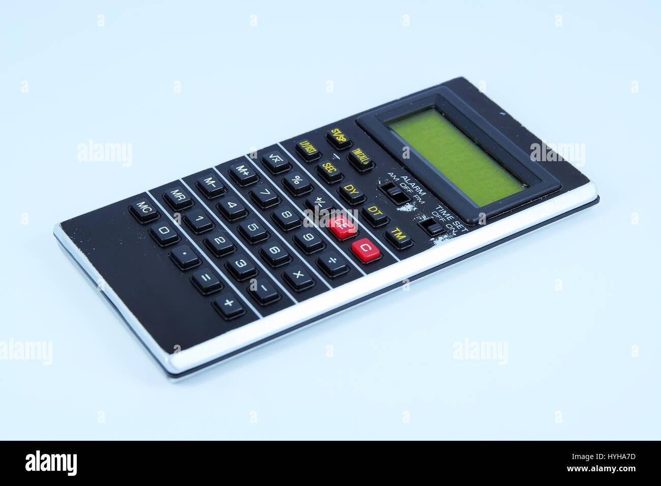 Antigua calculadora. Vintage calculadora. Foto de stock
