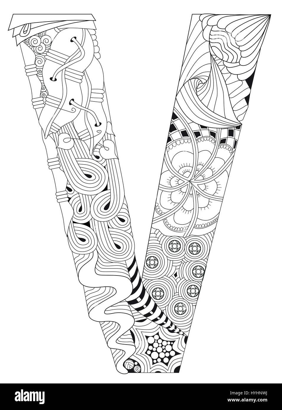 Letra V Para Colorear Vector Zentangle Objeto Decorativo