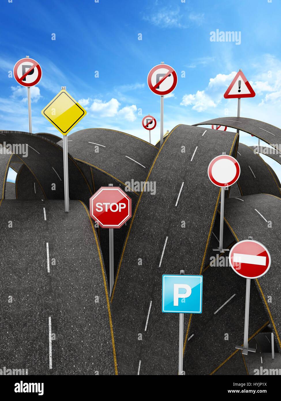Enredado, caótico, lleno de caminos y muchas señales de tráfico. Ilustración 3D Imagen De Stock