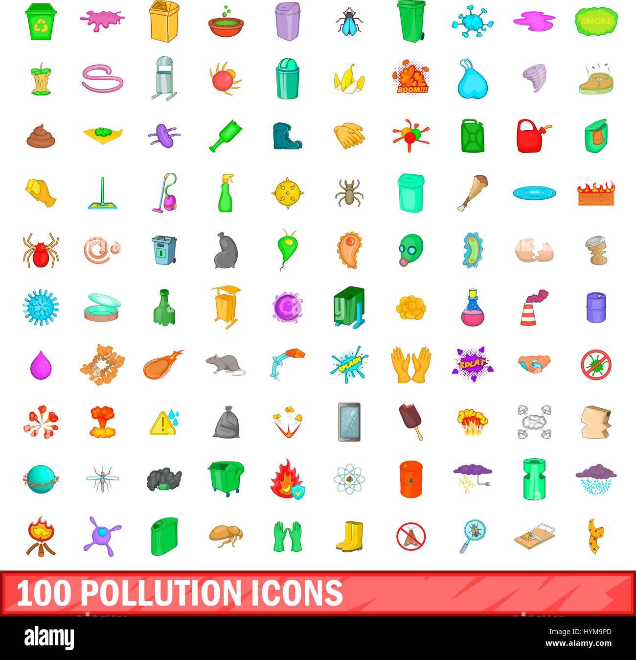 100 Iconos De La Contaminación Del Estilo De Dibujos Animados