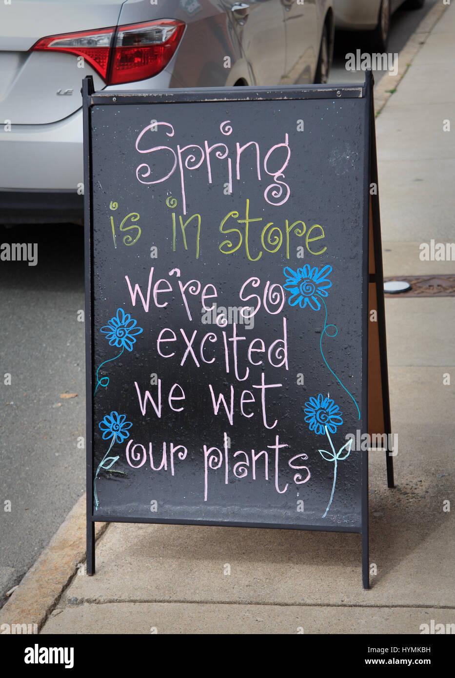 Signo humorístico en la calle en la primavera está aquí estamos tan entusiasmados nos mojamos plantas Imagen De Stock