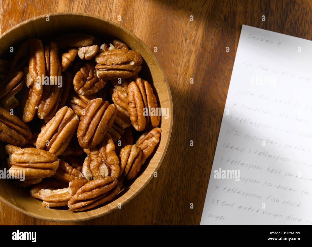 La pacana con receta Foto de stock