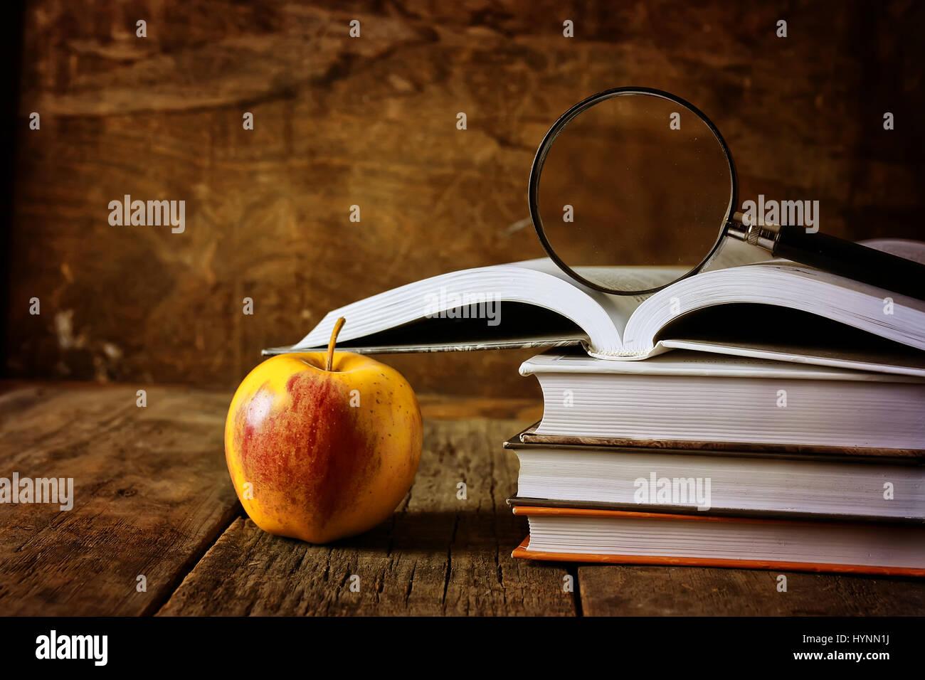 Lupa libro educación Foto de stock