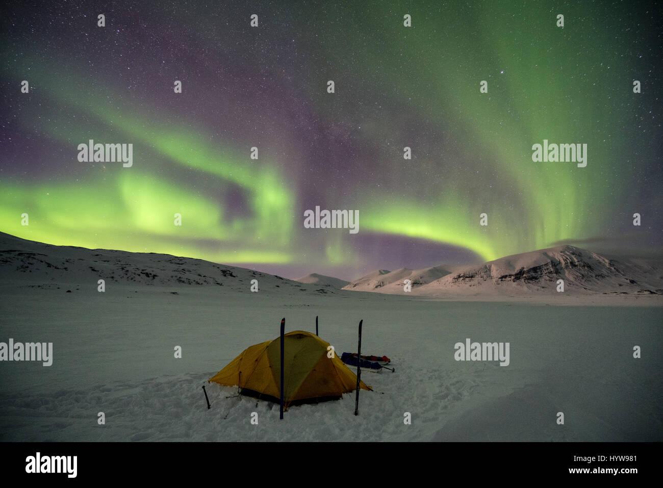 Esquí de travesía en la región Abisko, Suecia, Europa Imagen De Stock