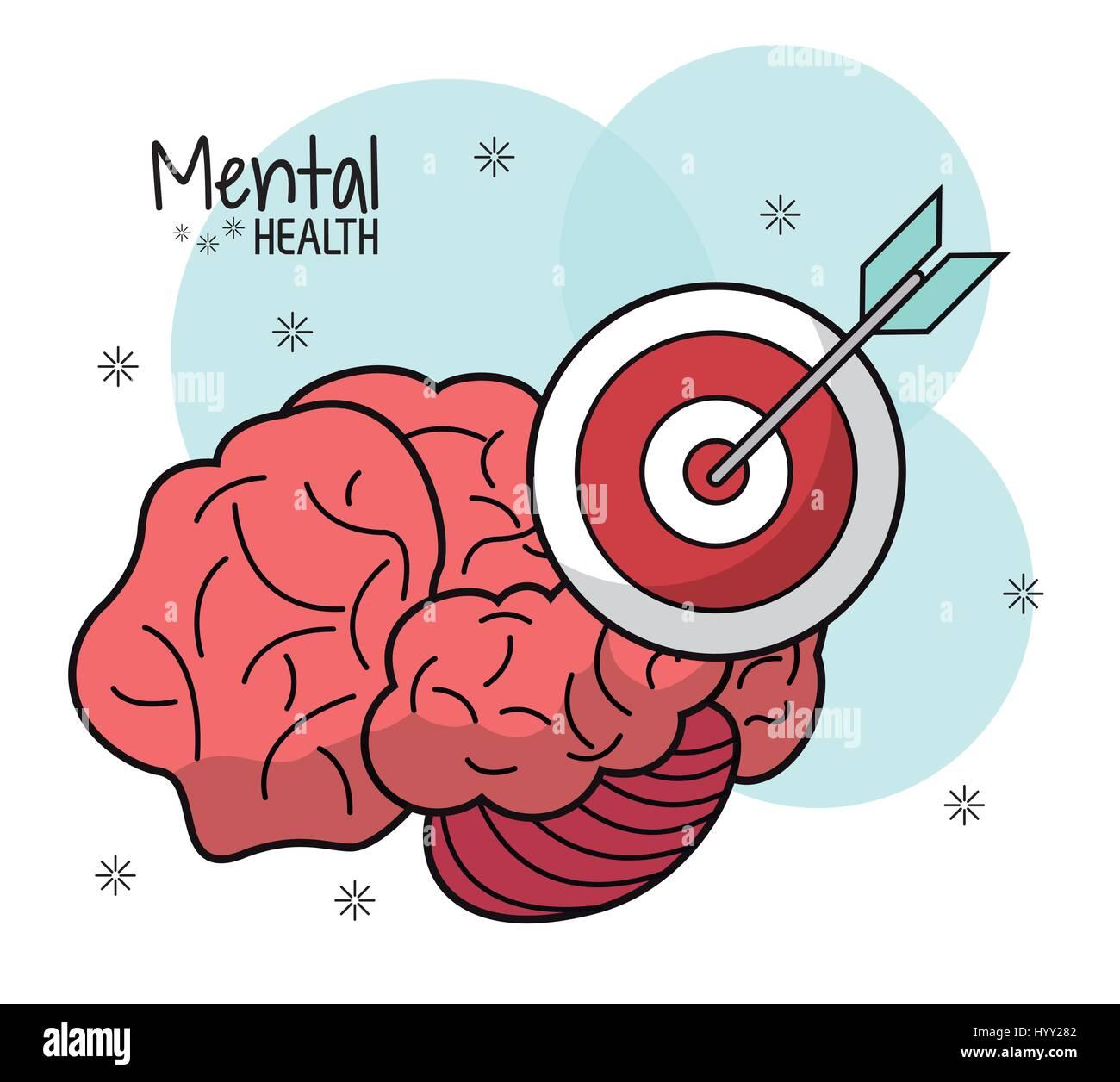 Cerebro Mental Health target innovación Imagen De Stock