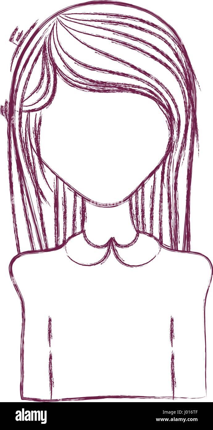 Anime Silueta Mujer Con Peinado Y Tela Ilustracion Del Vector