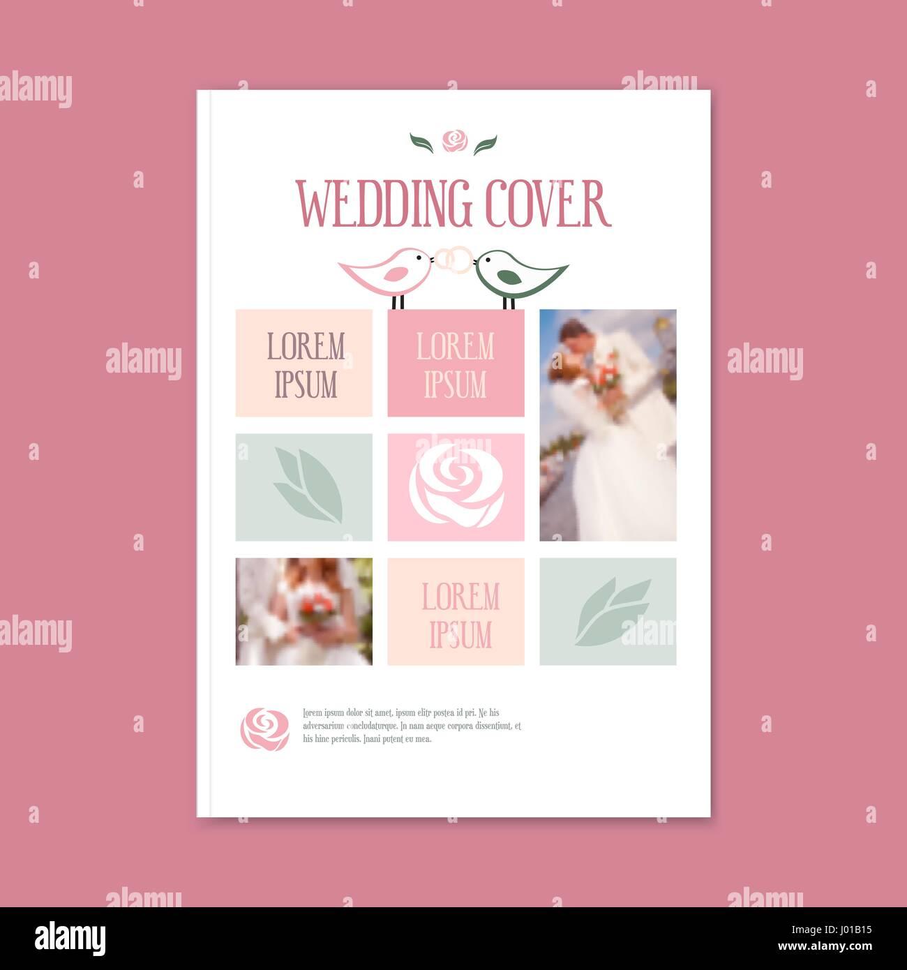 Vector plantilla de boda portada de folleto. La cubierta del folleto ...