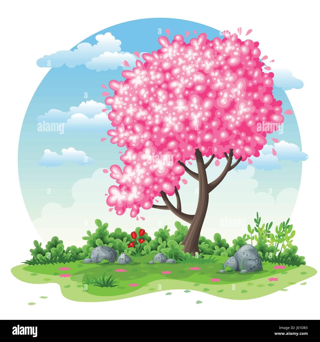 Naturaleza De Primavera Fondo De Dibujos Animados Ilustración Del