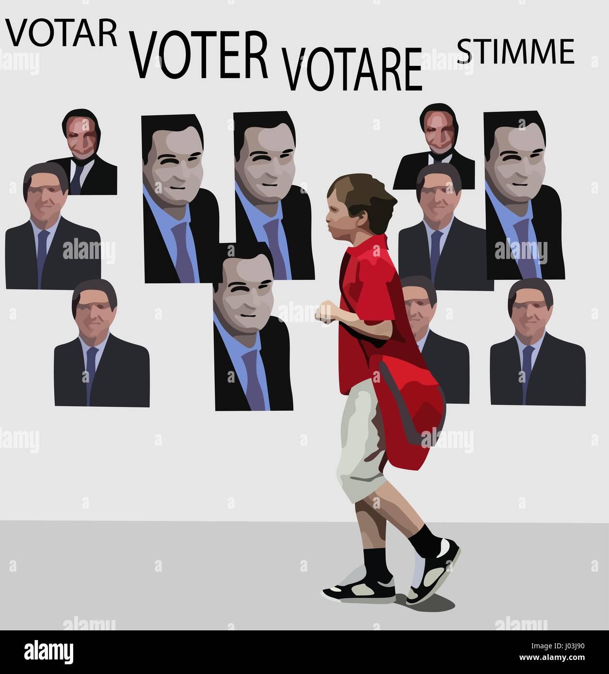 Concepto vectorial de votantes jóvenes y política. No personas reales. Imagen De Stock
