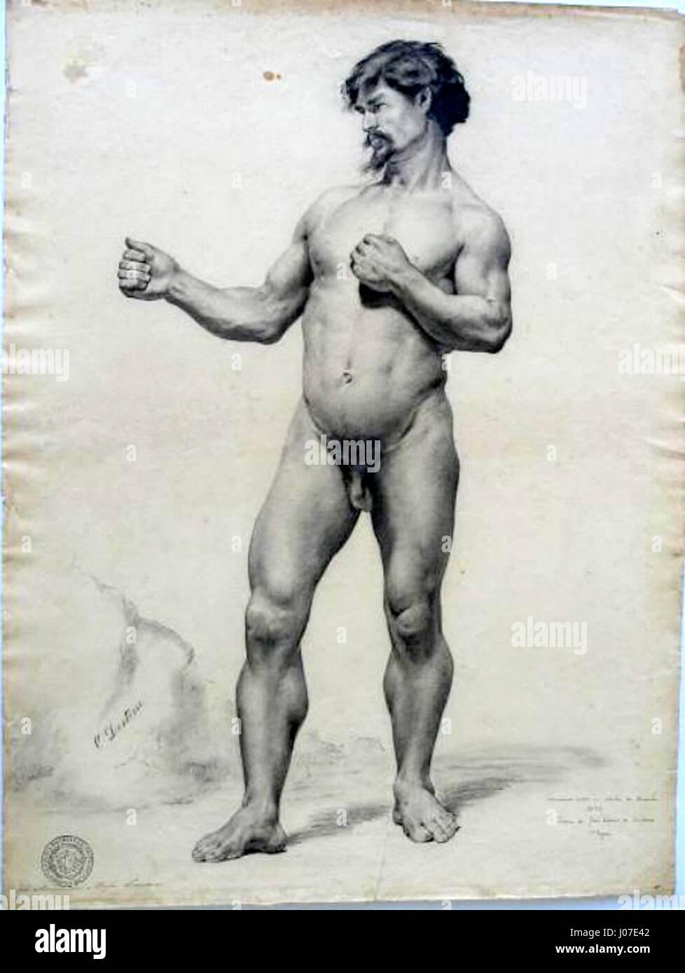 José Maria de Medeiros - Nu masculino (académico) Imagen De Stock