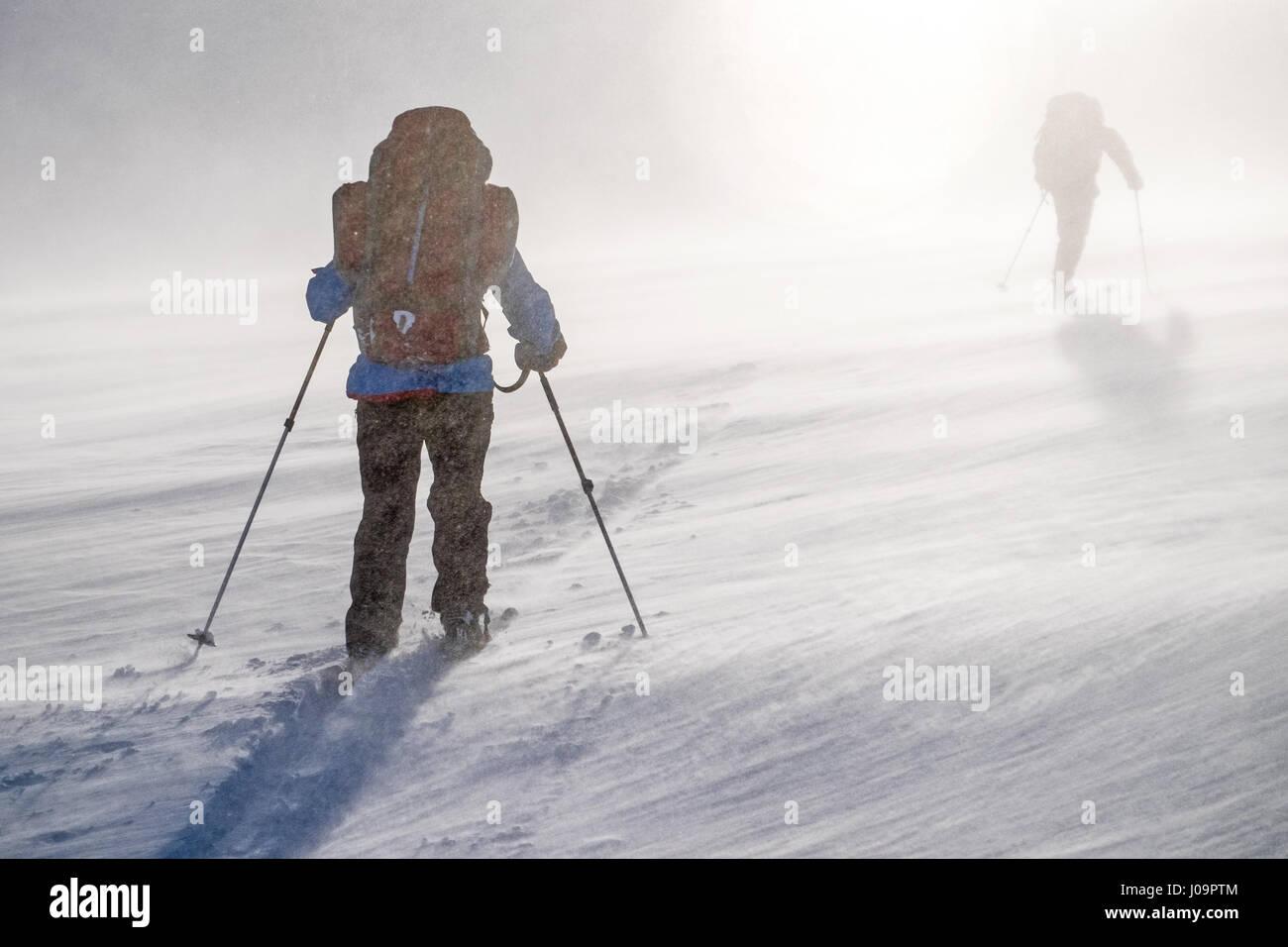 Esquí de travesía en una tormenta en el Ártico en la frontera noruega Troms Trail Foto de stock