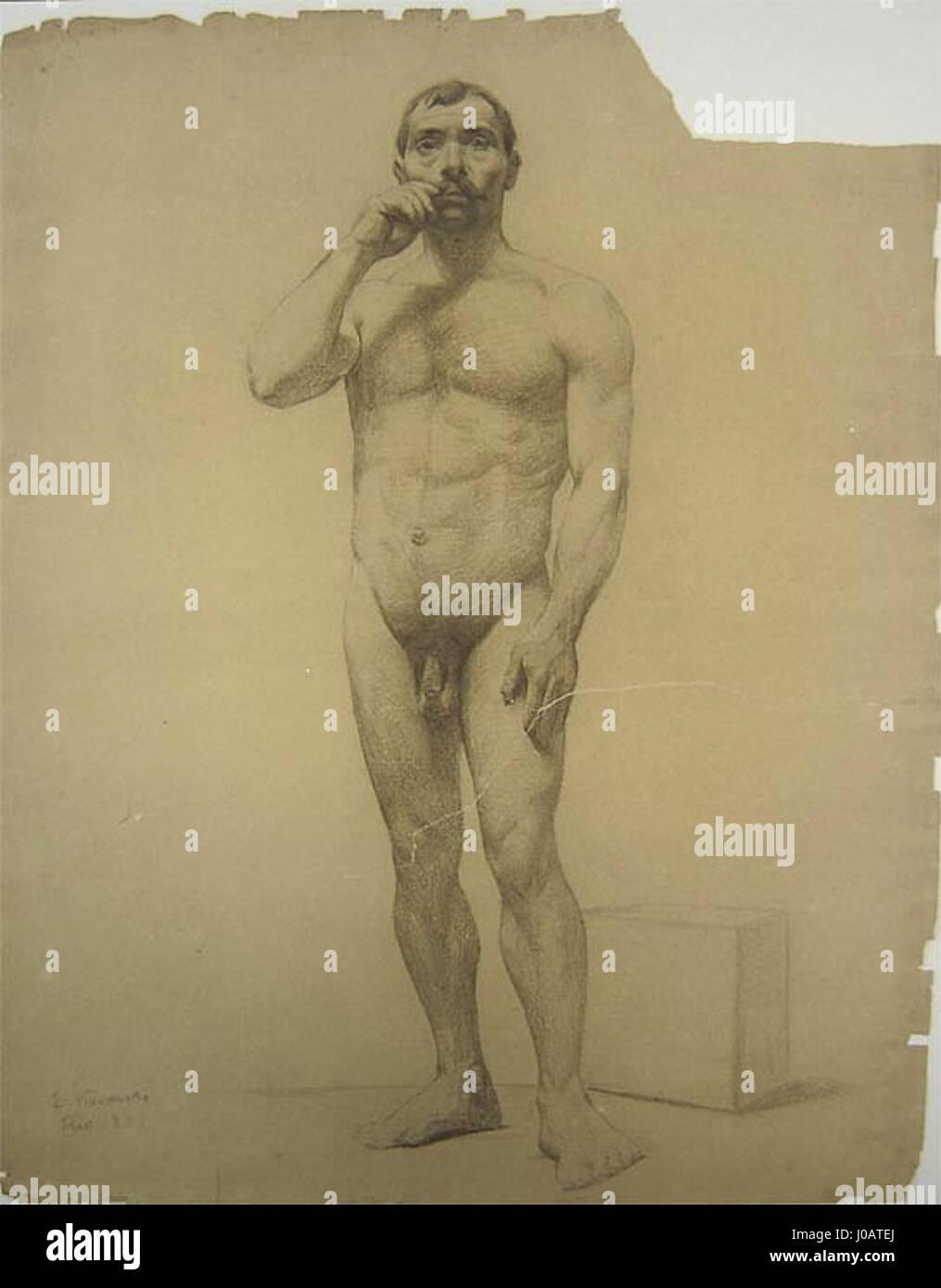 Eliseu Visconti - Nu masculino de pé 1889 Imagen De Stock