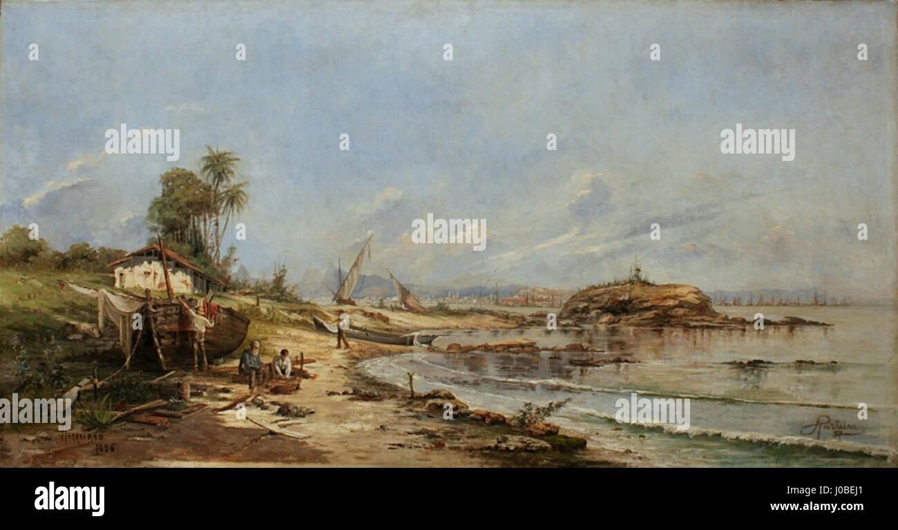 Antônio Parreiras - Gragoatá depois da trovoada, Niterói, 1886 Foto de stock