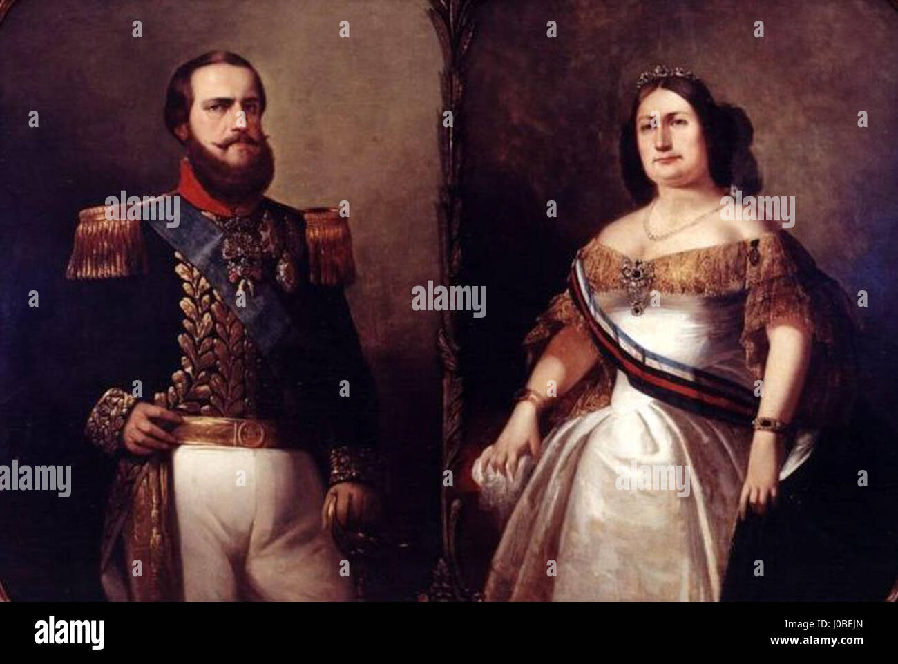 François-René Moreaux - Imperador están D.Pedro II e Imperatriz Teresa Cristina Foto de stock